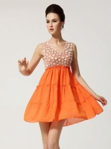 vestido color naranja